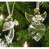 Glass Angel Decor - Set of 2 Crystal Angels - Glass Angel Decorations - Hanging Angels with Gold Trim and Angel Wings