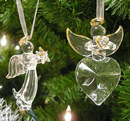 angel christmas decorations set of 2 crystal angels hanging angels with gold trim and - Buy Cheap Christmas Decorations Online