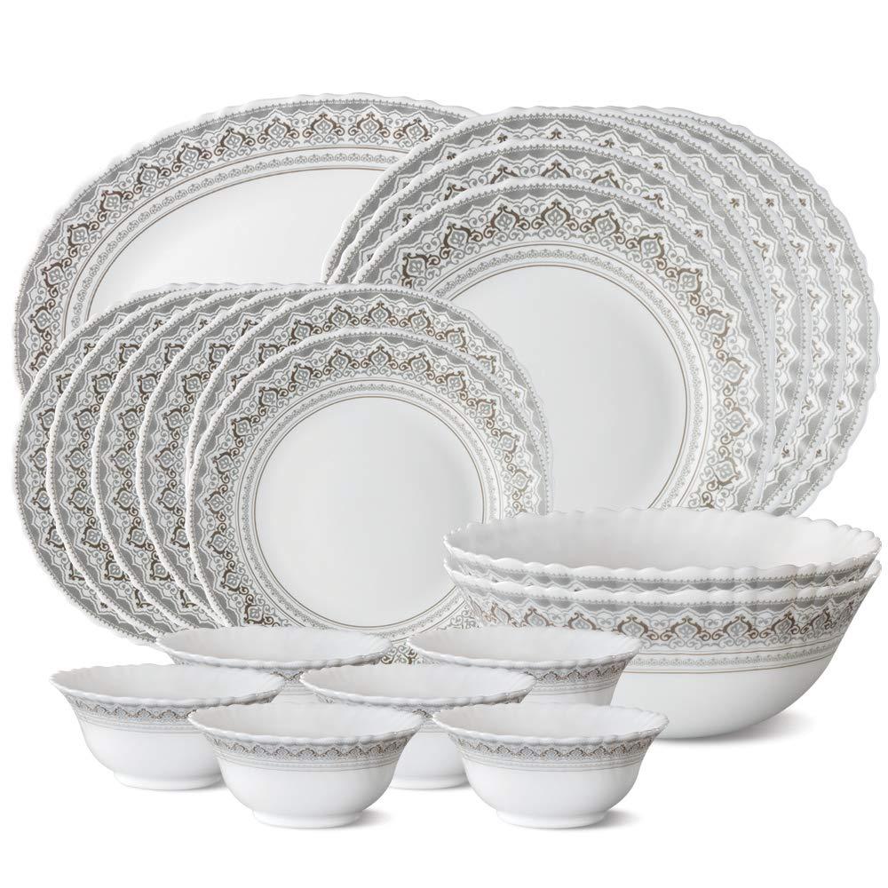 Larah by Borosil Classic Opalware Dinner Set, 21-Pieces, White