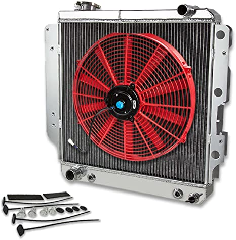 For Jeep Wrangler YJ TJ 2.4-4.23-Row Tri Core Racing Radiator+16 inches Jeep Wrangler Tj Heater Box Wiring Harness Fan Relay on