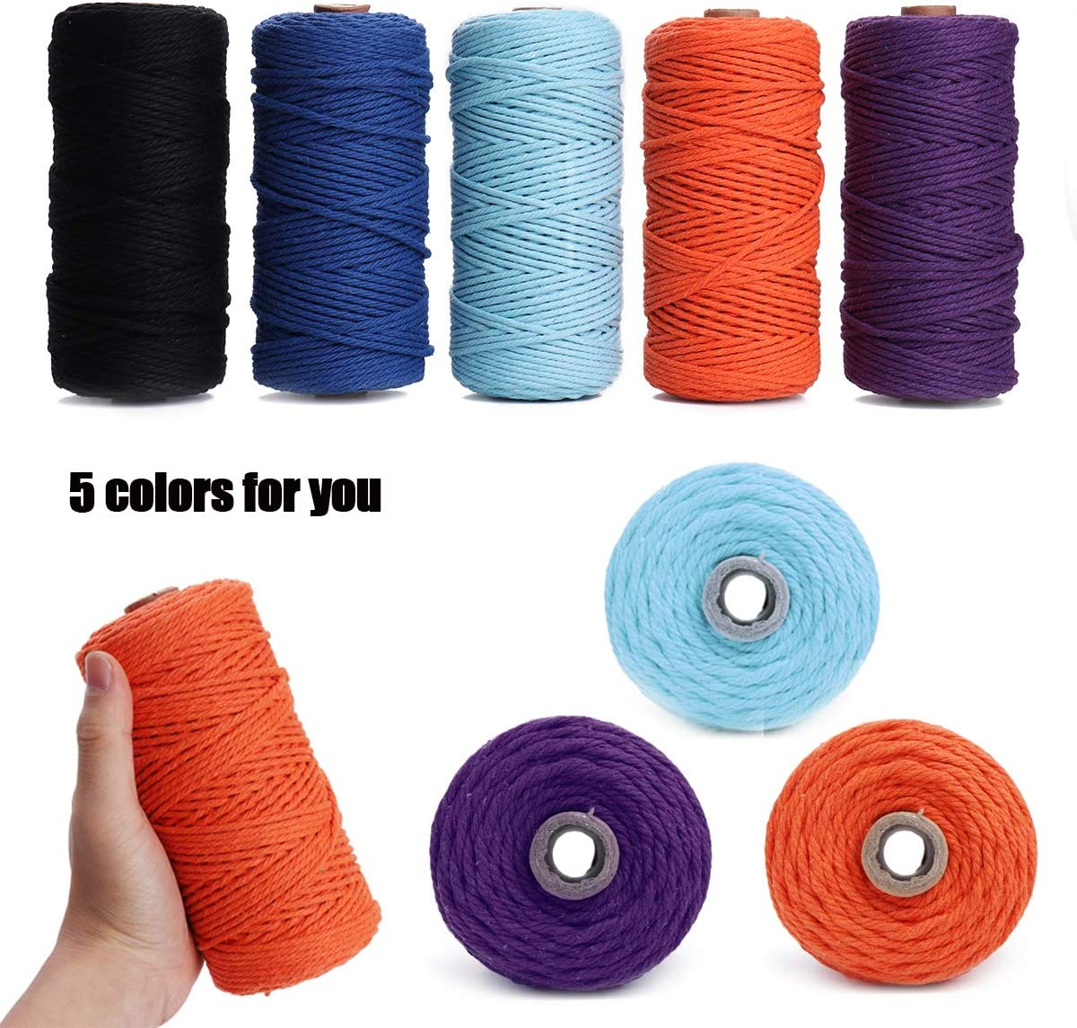 Blue HAPYLY Macrame Cord Natual Macrame Cotton Cord DIY Craft Cord Spool Twine Rustic String Cotton Rope for Wall Hanging,Plant Hangers,Crafts,Knitting,Decorative Projects 3mm x100m