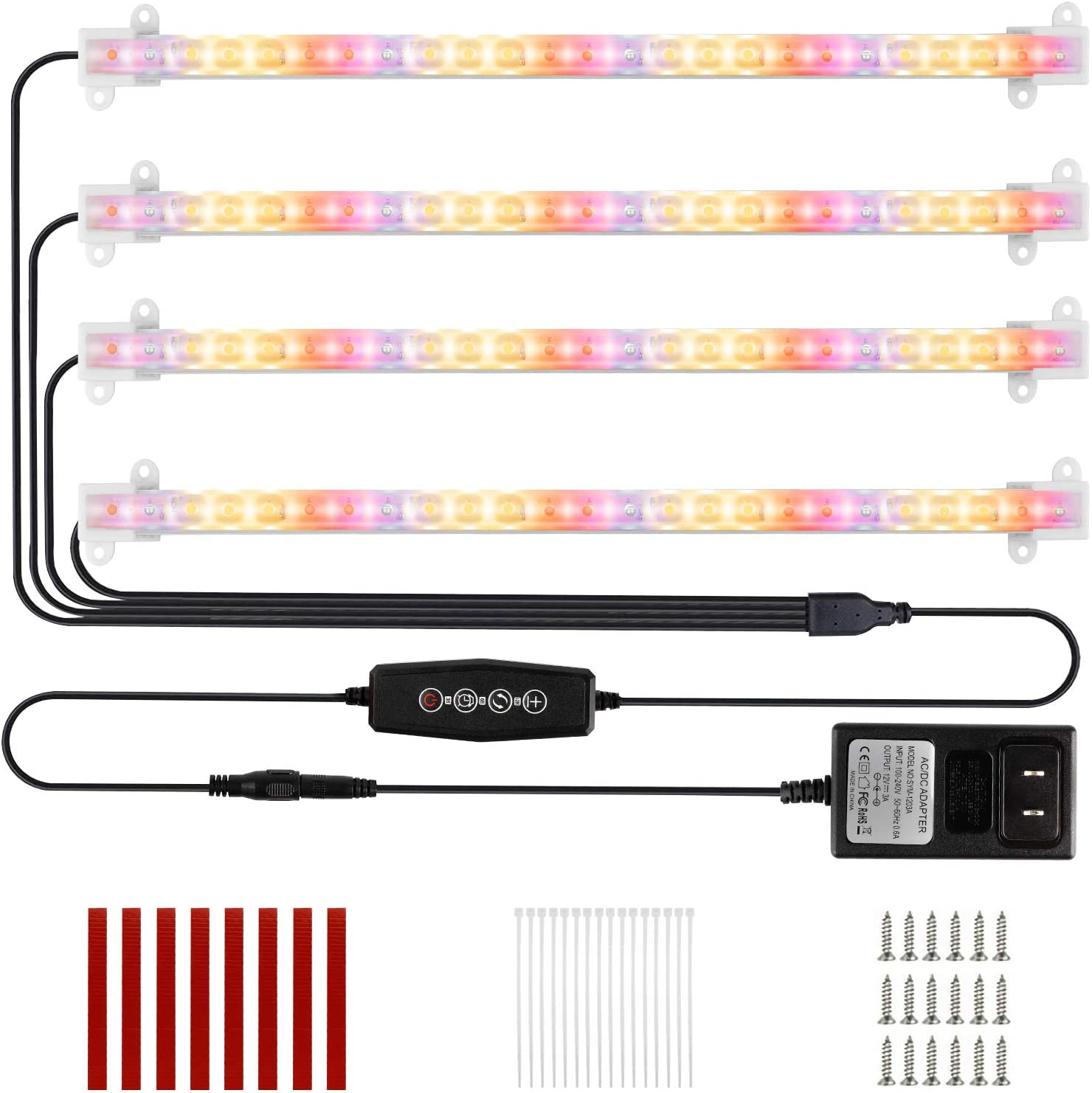 LED Plant Grow Light 4 Strips Full Spectrum Red Blue Sunlike Growing Lamp with Auto Cycle Timer 3/6/12 Hours, 5 Dimmable Levels, 3 Switch Modes for Indoor House Garden Seedling Hydroponics Succulent