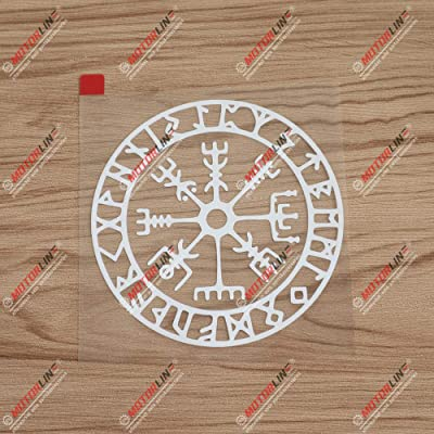 3S MOTORLINE 4'' Vegvisir Viking Runic Compass Decal Sticker Viking Odin Norse Vinyl White sda1: Automotive