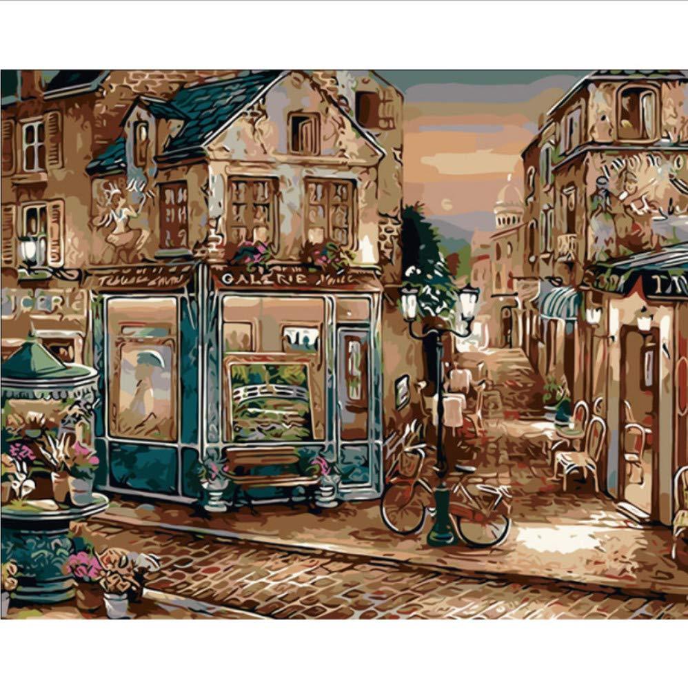 WYTTT Cartel De La Vendimia Pintura Al Óleo Europa Cafetería DIY Pintura by Números Pintados A Mano Arte De La Pared Imagen para La Decoración del Hogar Obra De Arte 16X20 Pulgadas Sin Marco