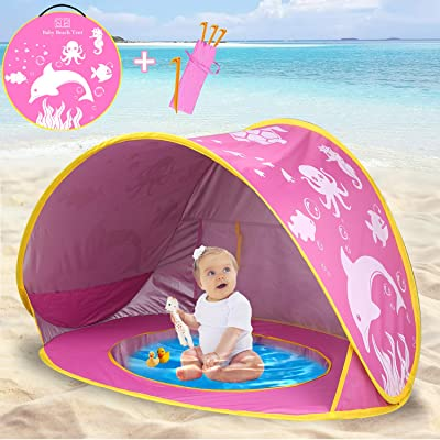 TURNMEON Baby Beach Tent,2020 Upgrade Easy Fold Up & Pop Up Unique Ocean World Baby Tent,50+ UPF UV Protection Outdoor Tent for Aged 0-4 Baby Kids Parks Beach Shade (Pink): Toys & Games