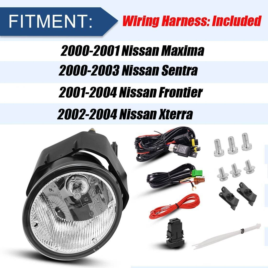 Clear Lens w//Bulbs /& Wiring Harness AUTOSAVER88 Fog Lights H3 12V 55W Halogen Lamp For Nissan Sentra 2000-2003 Frontier 2001-2004 Xterra 2002-2004 Maxima 2000-2001