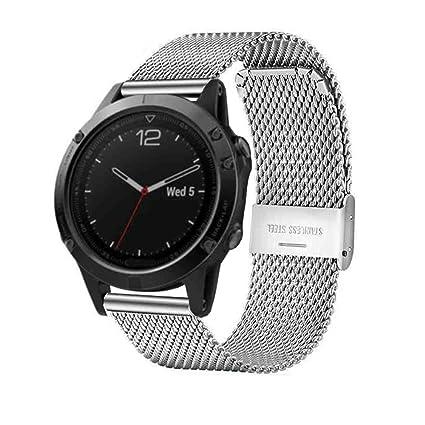 7Lucky - Correa de Repuesto para Garmin Fenix 5, Reloj Inteligente Milanese de Acero Inoxidable