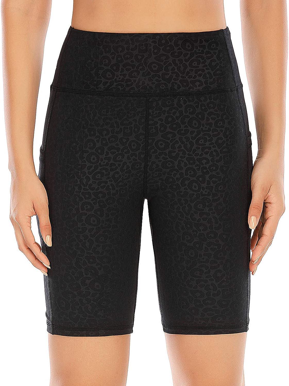 LouKeith Womens Yoga Shorts High Waist Tummy Control Workout Running Shorts Side Pockets
