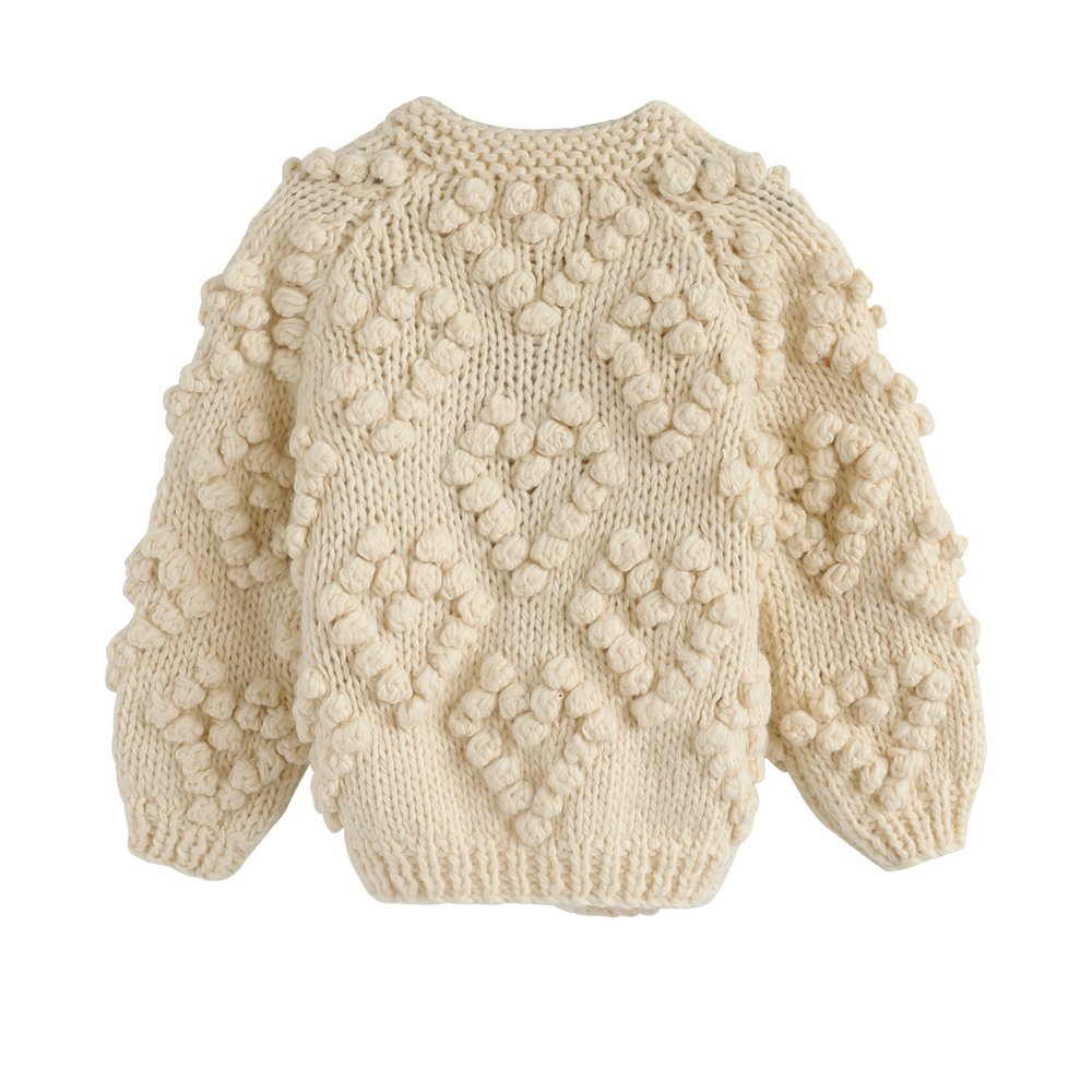 Chicwish Girl's Soft Heart Shape Balls Hand Knit Long Sleeve Ivory Beige Sweater Cardigan Coat, Ivory, 5-6YR (116cm) by Chicwish (Image #2)