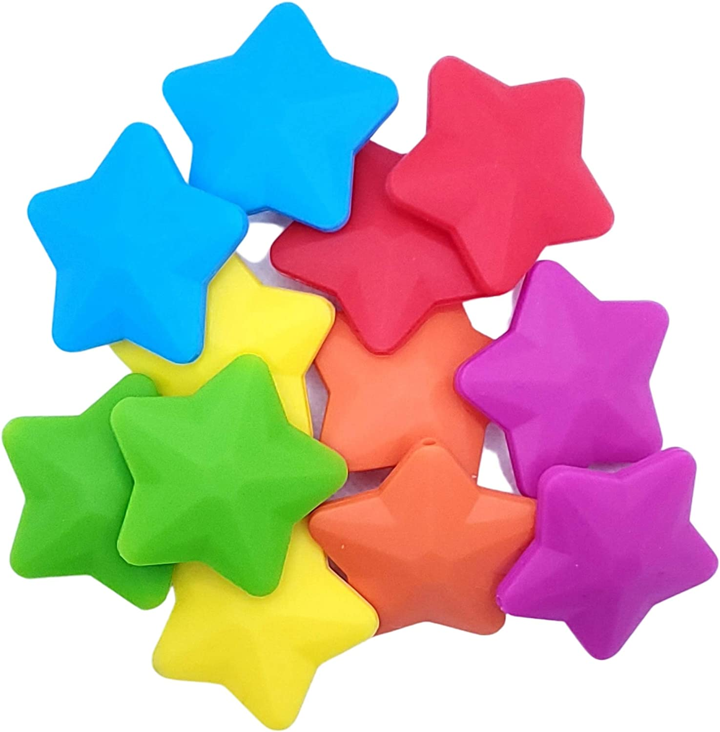 Star Silicone Beads - Jewelry Necklace Bracelet Making Kit - Food Grade BPA Free Arts and Crafts Supplies (12PC Rainbow)