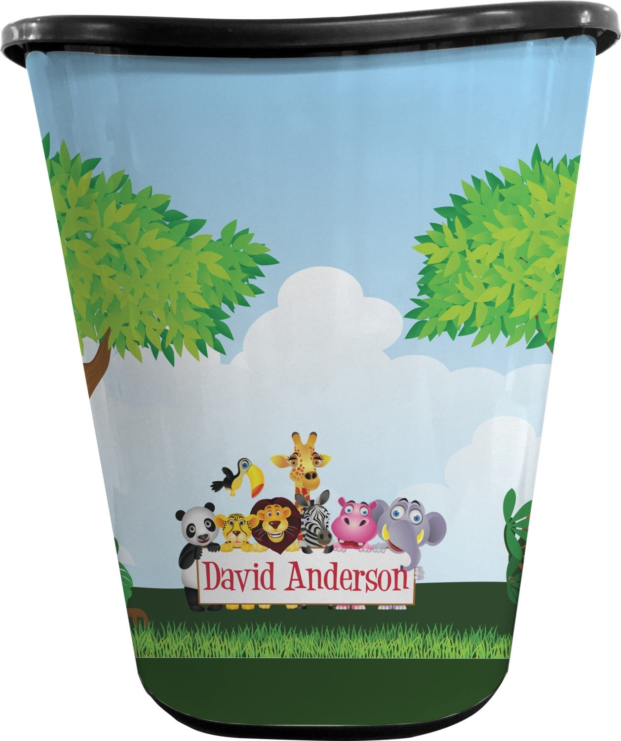 RNK Shops Animals Waste Basket - Double Sided (Black) (Personalized)