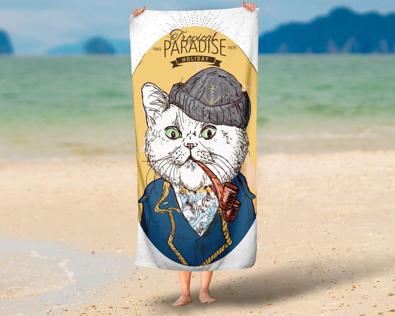 LLOOP Cara Mano dise/ño de Gato Pirata en Azul Marinero Gimnasio y SPA Extra absorbentes para ba/ño Toallas de Mano Multiusos 40 x 70 cm