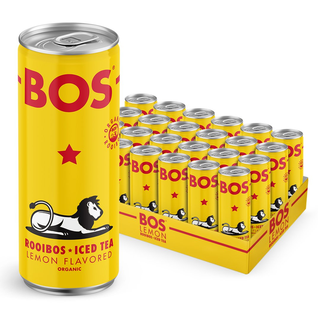BOS Organic Iced Tea | Naturally Caffeine Free | Made with Rooibos - a South African superfood packed with antioxidants | Five Delicious Flavors (Lemon, 24 Cans)