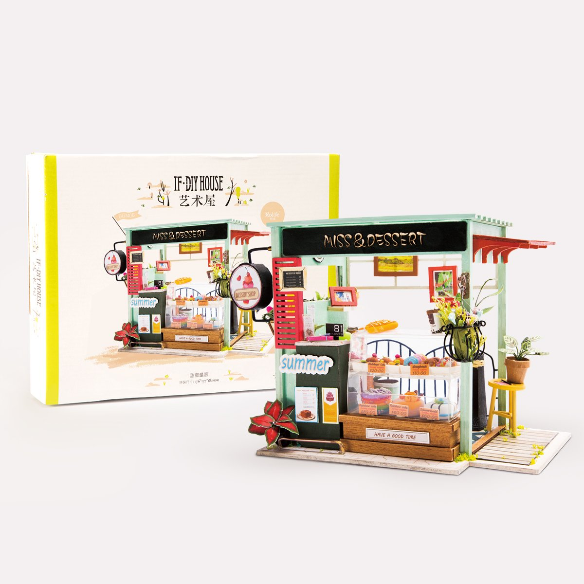 Wooden Hut Rolife Miniature Dollhouse Kits with Accessories-Model Building Sets-Wooden Toys-Super Fun Playset-Best Birthday for Girls Women Friends Mom Wife