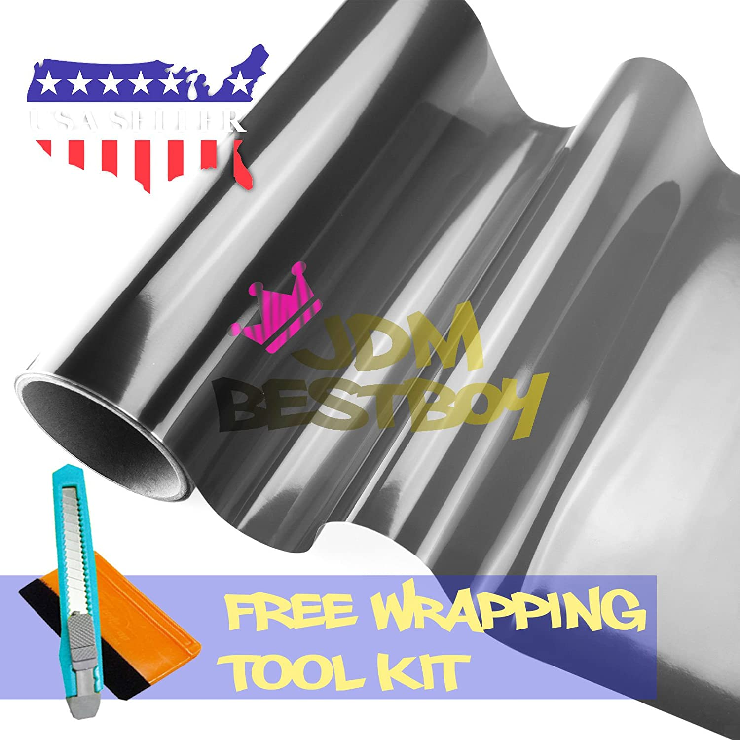 "Free Tool Kit 12""x60"" (1FT x 5FT) Glossy Light Black Smoke Tint Headlight Fog Lights Taillight Vinyl Film Self Adhesive JDMBESTBOY"