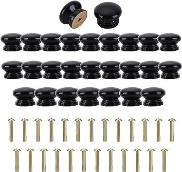Tirador para Caj/ón Pomos y Tiradores de Muebles Armarios de Cocina,Cajones NATUCE 10PCS Negro Pomo de Armario Redondo Pomos para Puertas Pomos y Tiradores de Muebles para Puertas
