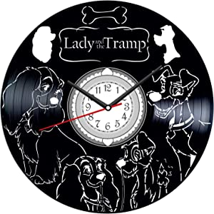Lady and The Tramp Vintage Vinyl Wall Clock - Great Home Decor for Bedroom Kitchen Living Room Idea Birthday Christmas Anniversary for Him Her - Unique Wall Art - Size 12 Inches