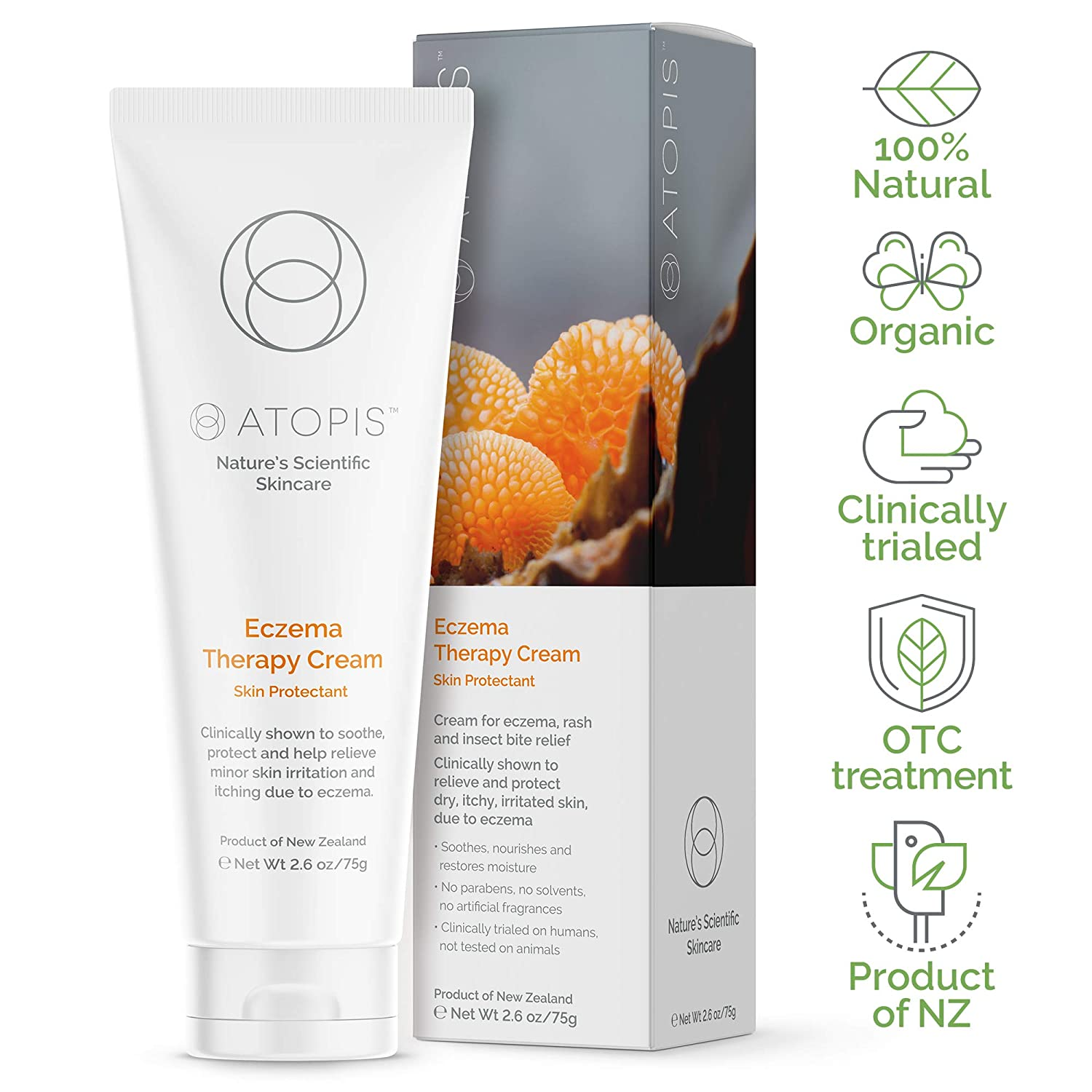 Clinically Proven Organic Eczema Therapy Cream – Adults, Children & Babies - Natural Treatment for Dry Itchy Skin - Reduces Redness, Scaling & Irritation on Face & Body 2.6 oz