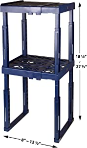 "Tools for School Locker Shelf with Adjustable Width 8"" - 12 1/2"" and Height 9 3/4"" - 14"". Stackable and Heavy Duty. Ideal for School, Work and Gym Lockers. Double (Blue)"