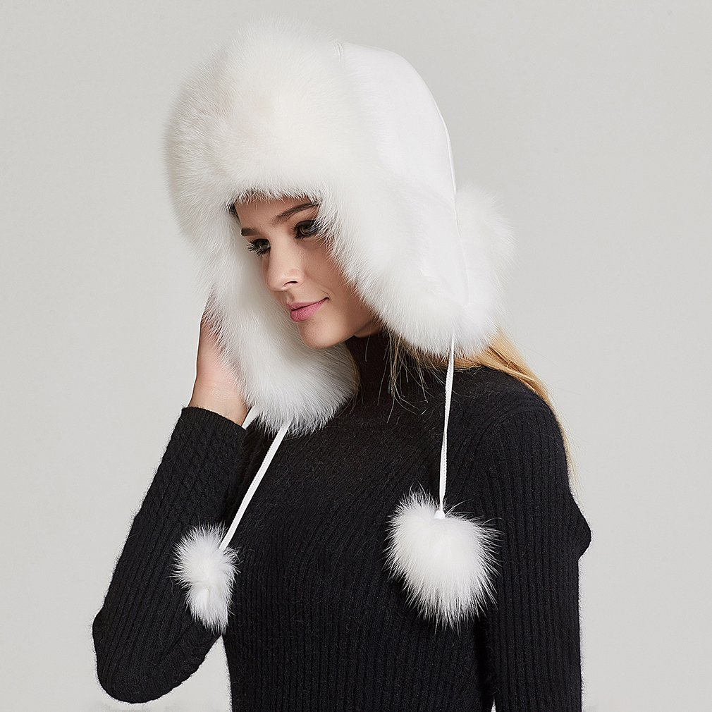 Fur Story Women's Trapper Hat with Sheep Leather Earmuffs Warm Winter Fur Hat (White) by Fur Story (Image #5)