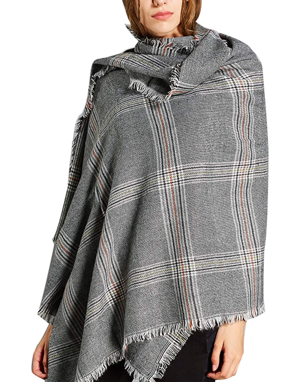 Zoulee 2018 New Women or Men Soft Plaid Cashmere Wraps Shawls Stole Scarf British Style Scarves 78''x 28'' Light Grey