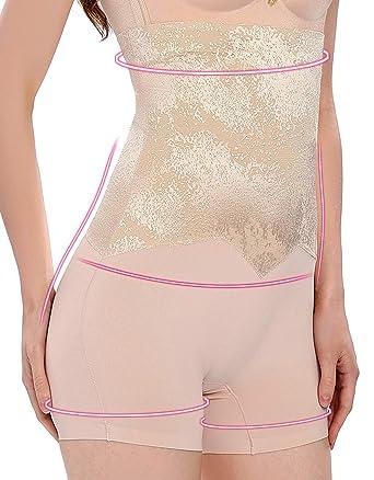 d4a679f2e2 Lynmiss Women Smooth Shapewear High Waist Thigh Slimmer Shorts Butt Lifter  Panty (Beige-S
