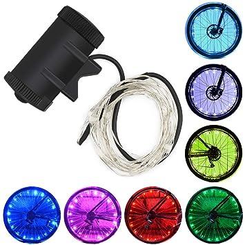 Color You Rueda de Bicicleta Luces 7 Colores Intercambiables Rueda de Bicicleta Colorida Rueda Radiante Luz Llanta de Bicicleta Luces para niños pequeños ...