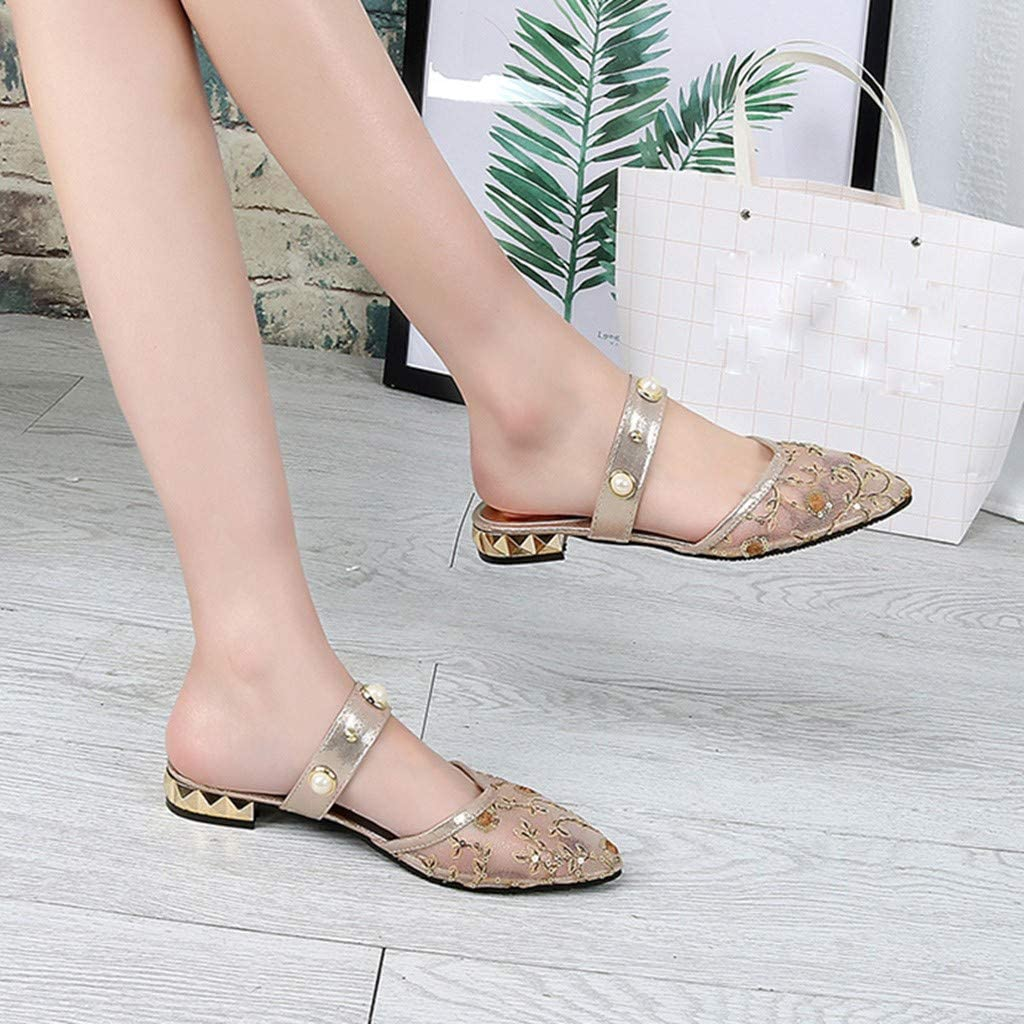 Women Summer Pearl Shoes lkoezi Lady Pointed Ankle Straps Sandals Bling Embroider Thick Sandals Casual Slipper