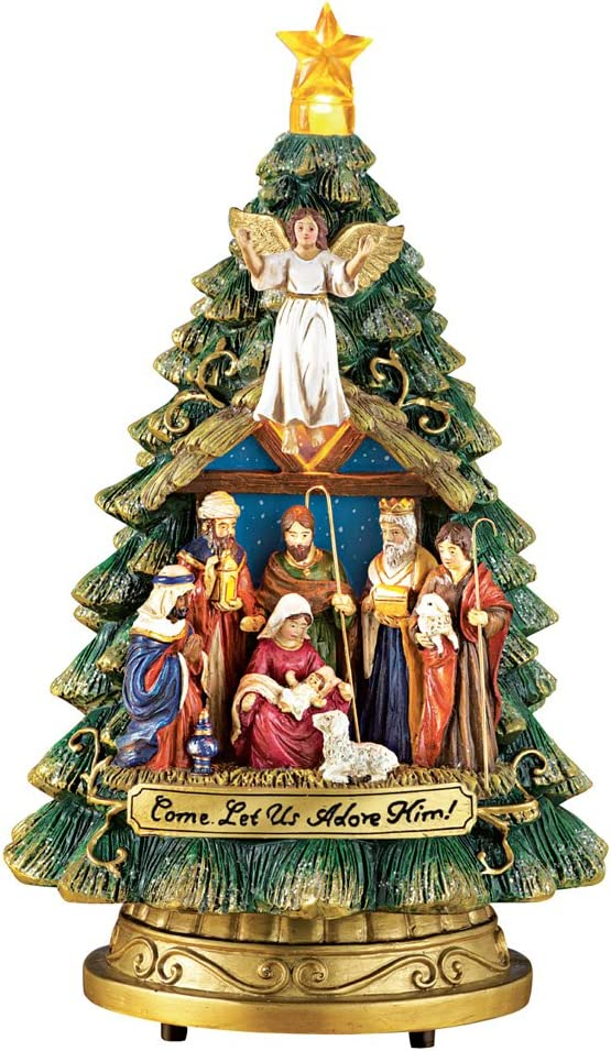 Collections Etc Musical Nativity Scene Christmas Tree Tabletop Figurine - Plays Silent Night