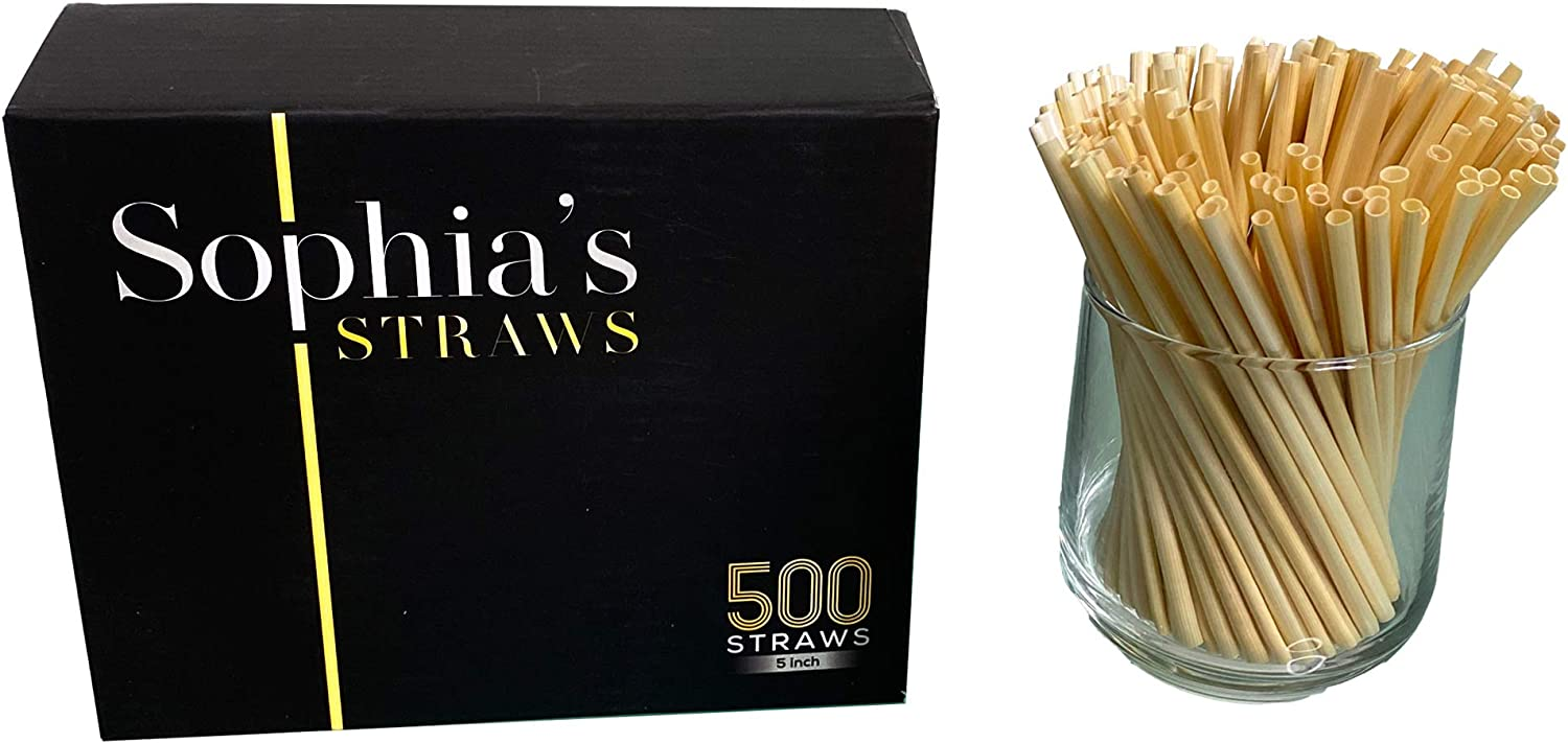 Natural Straws made out of Hay by Sophia's Straws 5 inch I 500 Straws - All natural, eco-friendly and disposable Hay Straws