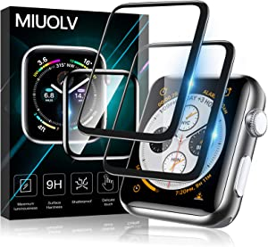 MIUOLV 2 Pack Watch Tempered Glass Screen Protector for Apple Watch 44mm Series 6/SE/5/4 Full Coverage Bubble-Free Scratch-resistant Anti-Fingerprint Screen Protector for Apple Watch 44mm