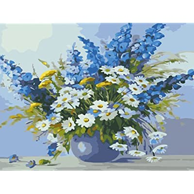 Greek Art Paintworks Paint Color By Number Kit, Blue and White Flowers, 16-Inch by 20-Inch