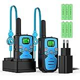 Bobela Walkie Talkie Niños Recargables 2 Piezas 8 Canales de Largo Alcance 3 km VOX con Pantalla LCD retroiluminada y…