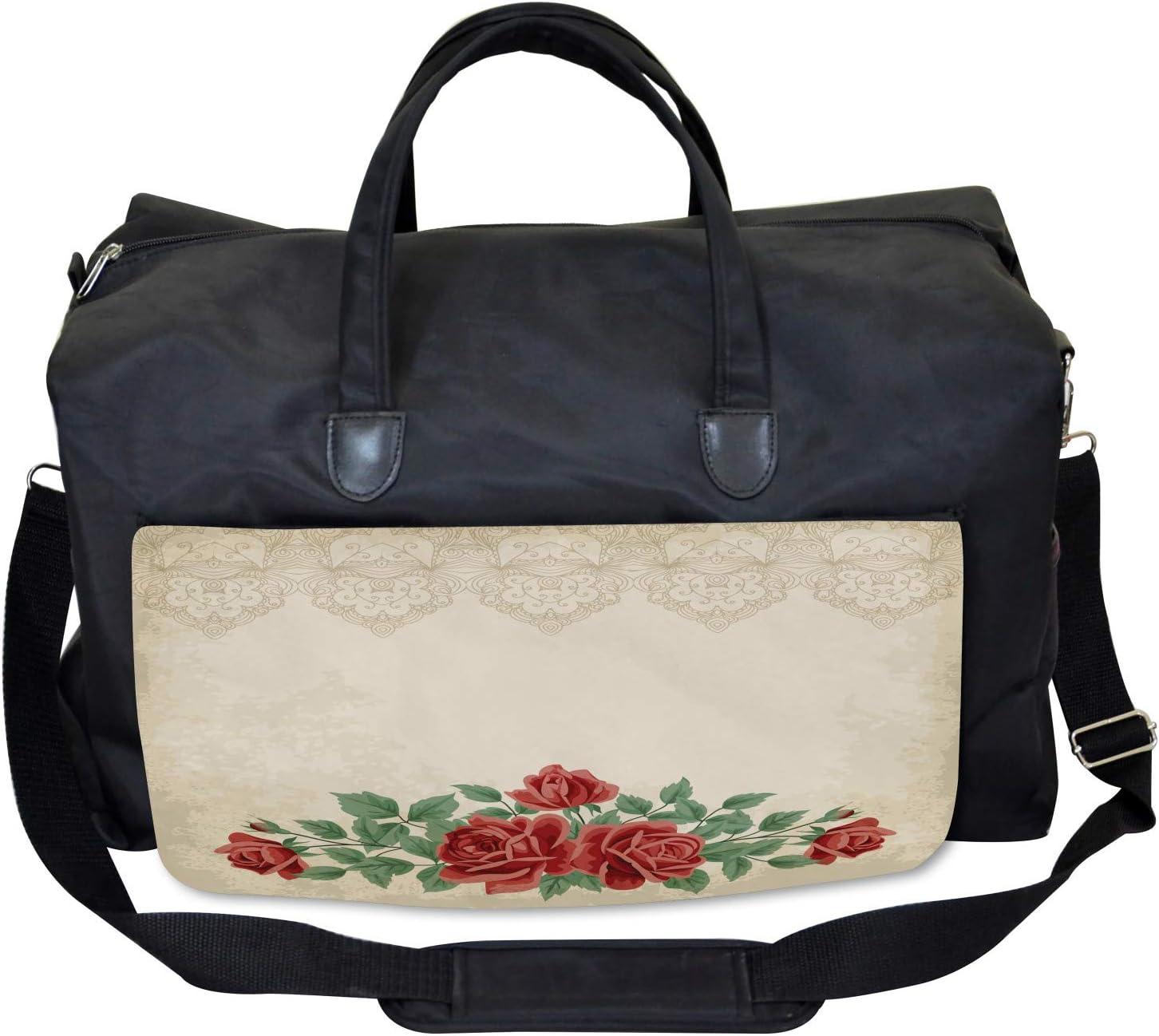 Ambesonne Glamour Gym Bag Vintage Love Red Roses Large Weekender Carry-on