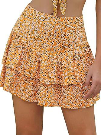 Leepus - Mini Falda Estampada Floral con Volantes, Capa Fina ...