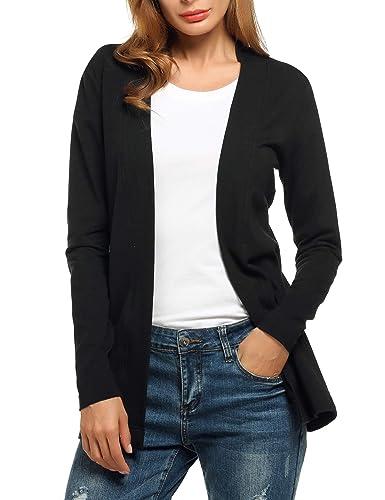 Meaneor Jerseys de Punto Mujer Elegante para Oficina Casual Negro L