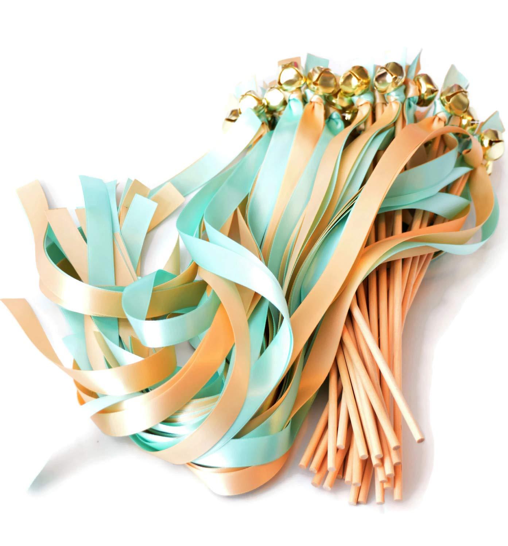 100 Mint Blue & Raw Silk Ribbon Gold Bell Wedding Wands #DivinityBraid #SendOffBells #WeddingWands #Wedding #Favors #CeremonySendOff #Party #KissingBells #RibbonWands