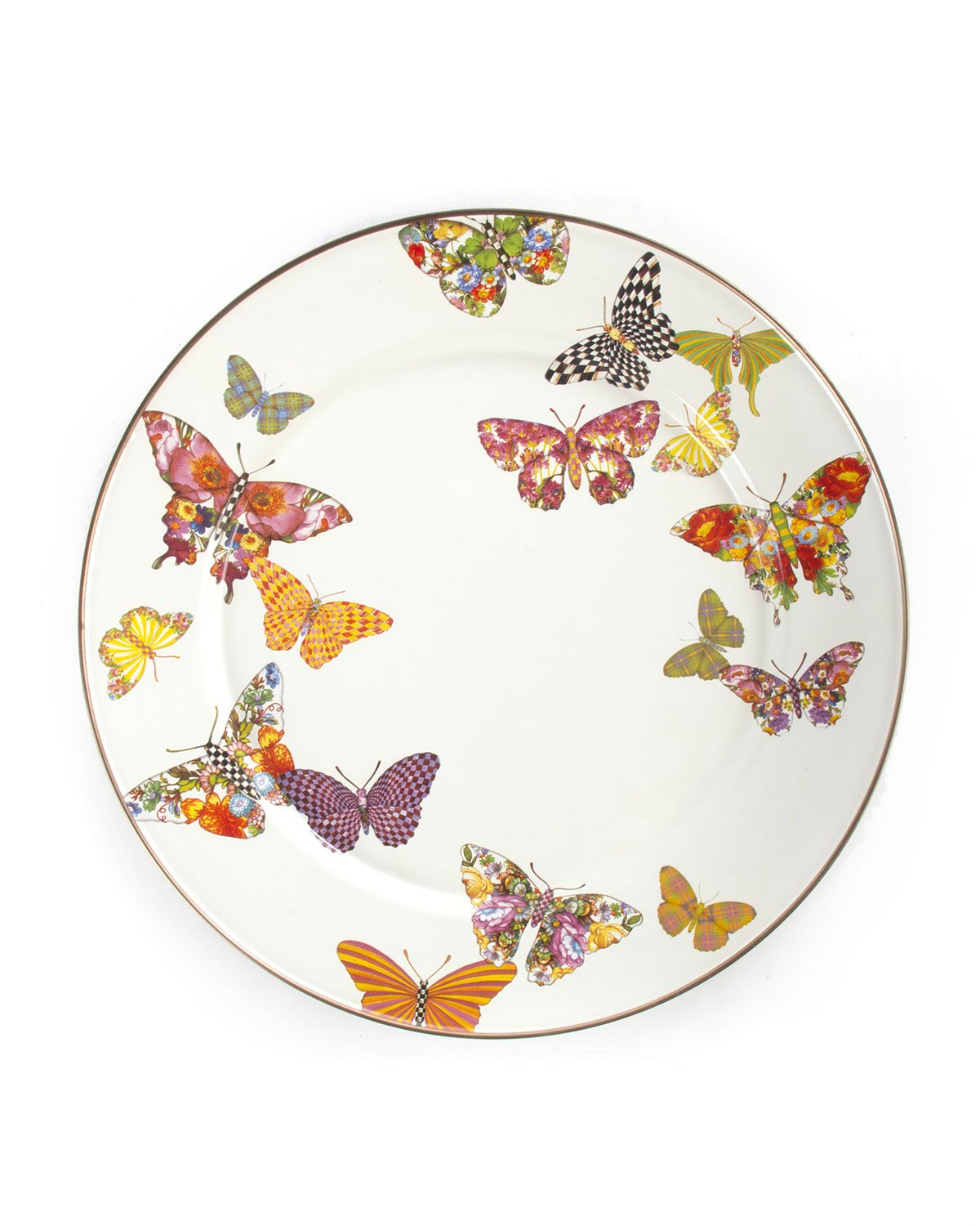 MacKenzie-Childs Butterfly Garden Enamel Charger Plate White