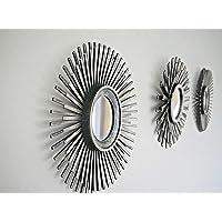 Homezone 3pc Shabby Chic Rond Sunburst Mural Miroirs en Vieilli Or ou Argent, Décoratif Montage Mural Shabby Chic Décor Maison