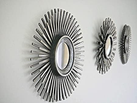 Homezone 3pc shabby chic round sunburst wall mirrors in distressed