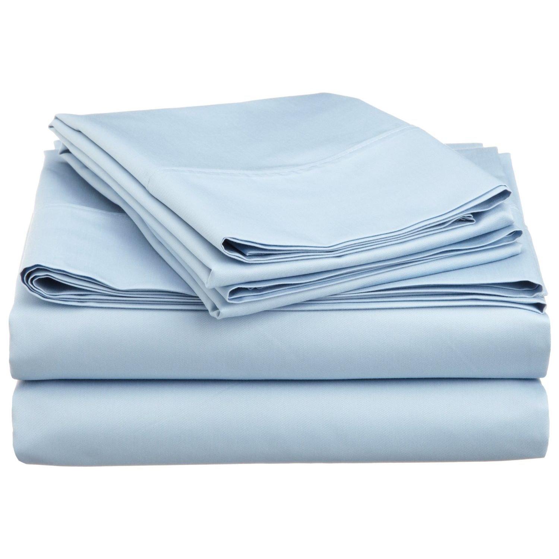 Cotton Blend 600 Thread Count, Deep Pocket, Soft, Wrinkle Resistant 4-Piece Split King Bed Sheet Set, Solid Light Blue Luxor Treasures LBSKSHSL600CR