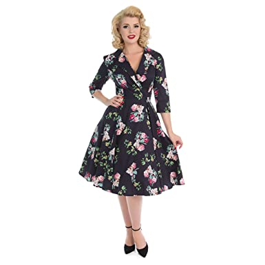 18095aab43f9 Hearts & Roses London Mysterious Purple Vintage Retro 1950s Floral Flared  Dress 8