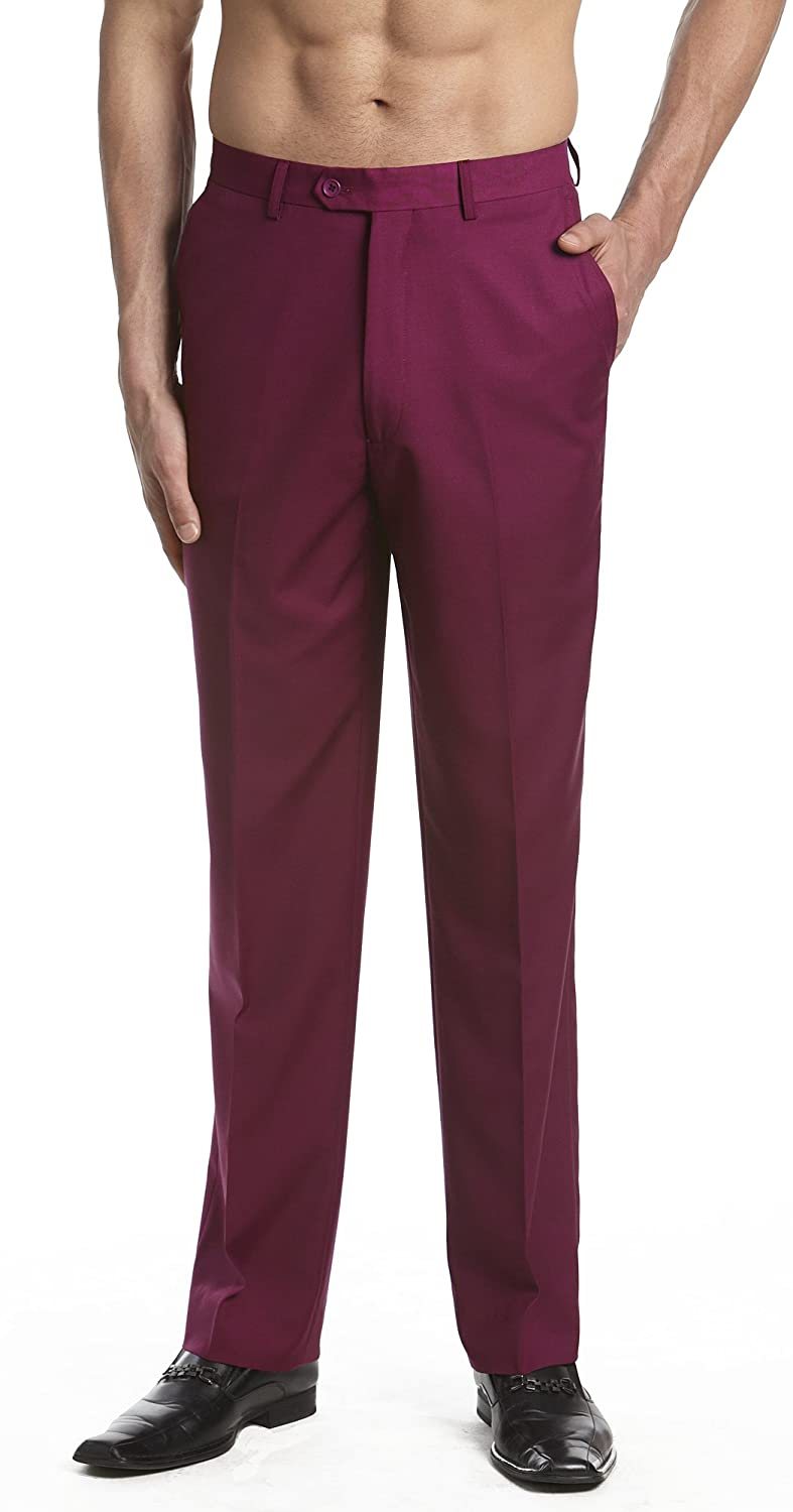 Concitor Mens Dress Pants Trousers Flat Front Slacks Solid Burgundy
