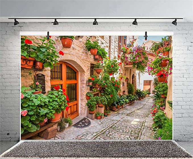 8x6FT Italian Town Street Ally Backdrop Spring Flowers Medieval Architecture Summer Holiday Travel Europe Photo Background Children Baby Adults Wedding Portrait Shoot Studio Vinyl Prop
