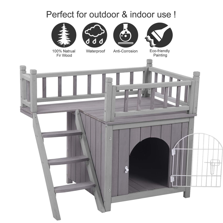 Aivituvin Outdoor Cat House Weatherproof Wooden Kitty Condo Indoor Shelter Cats Zuiverlucht Pet Supplies