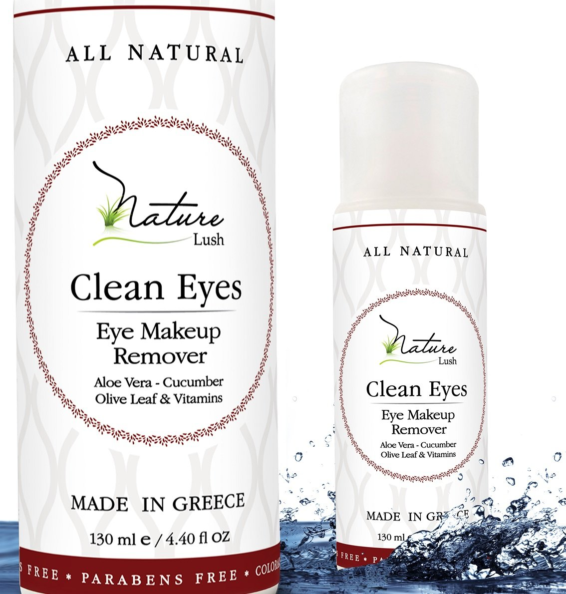 The Best Natural Eye & Face Makeup Remover - Oil Free - Rich Vitamins - Non Irritating - No Hazardous Chemicals - 'Clean Eyes' By Nature Lush - Made In Greece 4.4 oz
