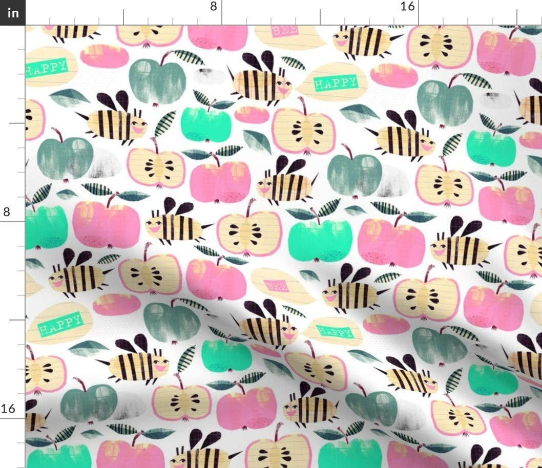 Spoonflower Fabric - Bee Happy Summer Fly Hive Pastel Bees Watercolor Fruits Apples Cute Printed on Fleece Fabric by The Yard - Sewing Blankets Loungewear and No-Sew Projects