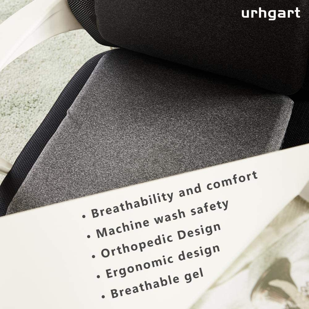 Breathable Honeycomb Design with Non-Slip Sleeve Absorb Pressure Points urhgart Gel Seat Backrest Plus Cushion Set Relieve Back Pain and Coccyx