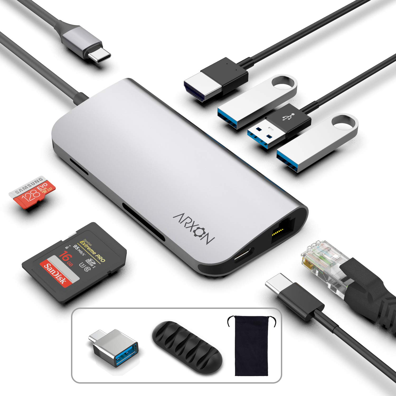 USB C Hub, 8-in-1 Thunderbolt 3 Adapter with 3 USB 3.0 Ports, 4K HDMI, Ethernet Port, SD/TR Card Reader, USB-C Power Delivery, Portable for Mac Pro 2016/2017/2018 & Other Type-C Laptop by Arxon