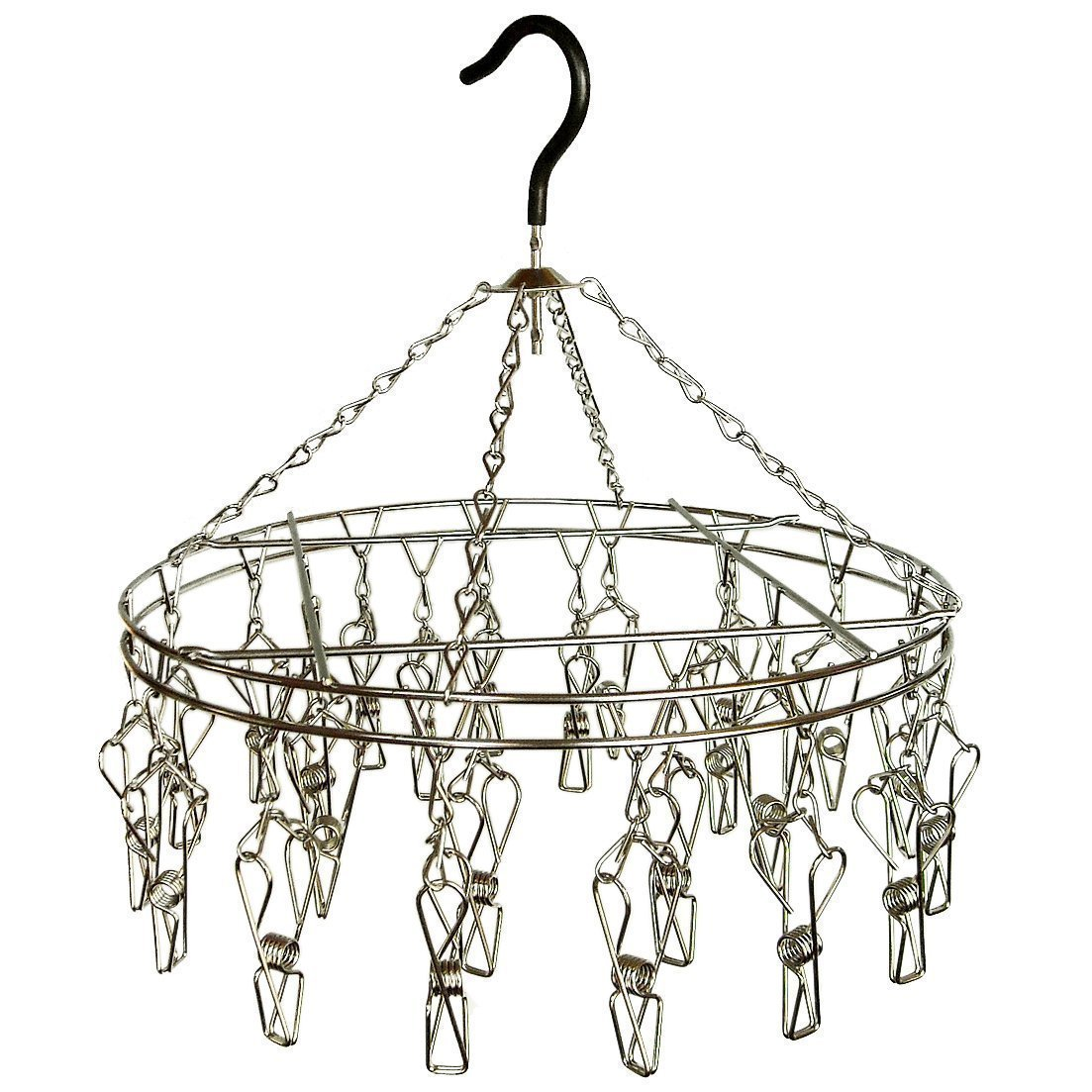 Sky Fish Sock Dryer Clothes Hanger Drying Rack Round Hanger Stainless Steel Hanger Applicable to clip socks towel underwear and scarves 20 clips